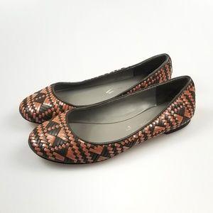 Rebecca Minkoff Flats Leather Basket Weave Brown